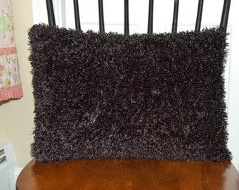 SALE, Fluffy Funky Black Pillow, Decorative, Super Soft Black Pillow