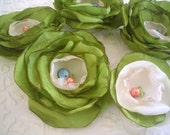 Fabric flowers --- 5 apple green --- upcycled