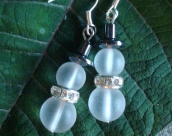 Snowman Frosted Glass Christmas Earrings