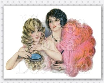 Printable Art Deco Graphic Vintage Art 1920's Ladies and Feather Girl Glamour Digital Instant Download