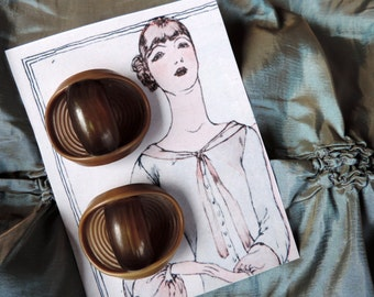 Vintage Celluloid Buttons Antique Large Coat Size 1930's Art Deco Display Card Free Shipping