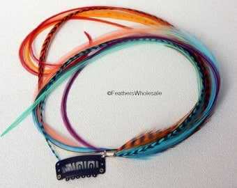 Feather Extension Hair Clip Turquoise Orange Hair Feathers