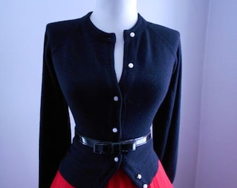 Vintage 1950s 1960s Black Button Down Cardigan Bombshell Sweater