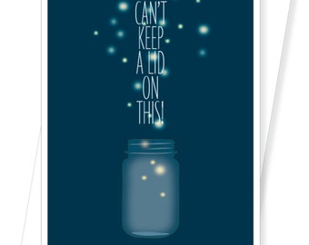 Mason Jar with Fireflies Congratulations Card