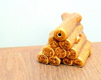 Miniature Stack of Logs Vintage Single Shaker Figurine