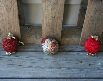 Set of Three Mismatched Christmas Ball Ornaments