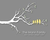 """Personalized Family Tree Christmas Gift for Wife Gift Custom Love Bird Family Tree Branch Housewarming/Anniversary/Wedding Gift- 8""""x10"""""""