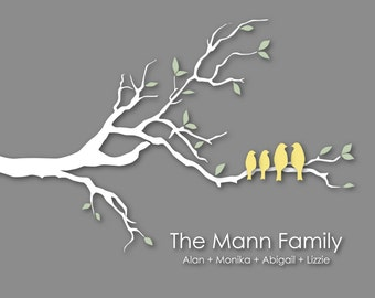 "Personalized Family Tree Christmas Gift for Wife Gift Custom Love Bird Family Tree Branch Housewarming/Anniversary/Wedding Gift- 8""x10"""