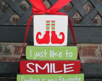 """Christmas """"MINI"""" stacker-I just like to SMILE smiling is my favorite-""""ELF"""" quote"""