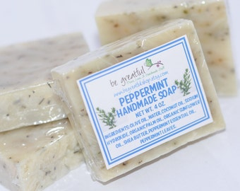 Handmade Cold Process Peppermint Vegan All Natural Soap Bar