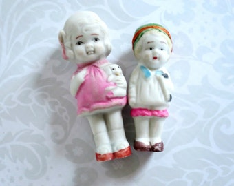 Vintage Frozen Charlotte Bisque Dolls  /  Pair Vintage Porcelain Dolls  /  Pink Cup Cake Toppers Decor