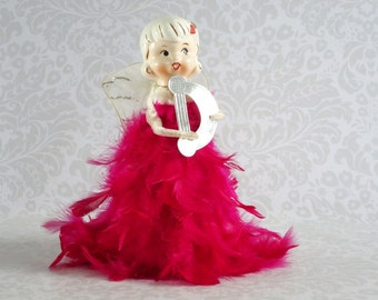 Vintage Feathered Angel by Holt Howard in Hot Pink  /  Feathered Angel  /  Pink Angel Decor