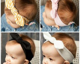 Baby Headbands, Square knot & Dots  Head wraps, Baby Head wraps, Jersey Knit Headwraps, Baby Headbands, Knott Headband,