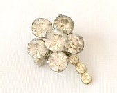 Tiny Clear Rhinestone Flower Pin Brooch
