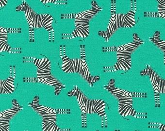 Zebra in Bermuda (AED-15061-237) - JUNGLE PARTY by Edward Miller - Robert Kaufman Fabric - 1 yard