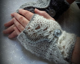 Fingerless Gloves, Victorian Grey Armwarmers, Gradient Mitts, Crocheted Armwarmers, Ombre Mitts in Shades of Grey, Black and White Mitts