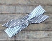 Reversible Headband Grey Gingham over Grey and White Polka Dots Teen Women Hair Accessory Headscarf