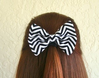 Chevron Hair Bow Black and White Chevron Hair Clip Rockabilly Pin up Teen Woman Girl