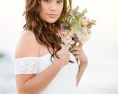 Wedding Dress Long Strapless Wedding Gown Bohemian In Lace With Chiffon sample Sale