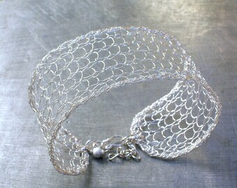 Silver Mesh Cuff, Knit Wire Crochet Bracelet Cuff, Bridal Jewelry
