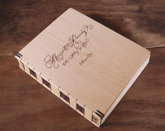 Custom Wedding Wood Scrapbook - maple wood memory book personalized  engraved alternative wedding spring natural elegant - made to order
