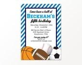 Sports Birthday Invitation - Boys Sports Party by 505 Design, Inc