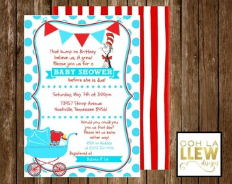 Dr. Seuss Red and Blue Baby Shower Invitation