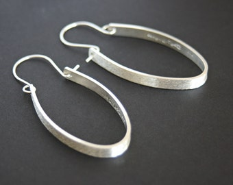 Silver Hoop Earrings Long Oval Dangle Modern Brush Silver Statement Earrings