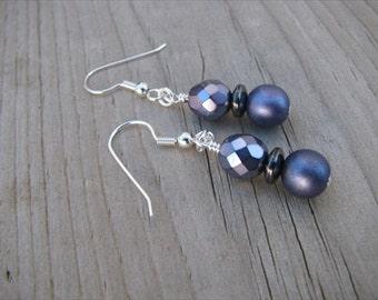 Purple Glass Beaded Earrings