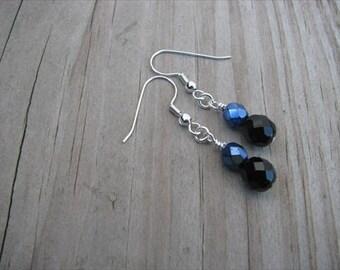 Metallic Blue and Black Glass Beaded Earrings