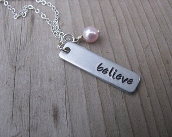 "Inspiration Necklace- Hand-Stamped Necklace-brushed silver rectangle with ""believe"" and an accent bead of choice- Personalized Gift"