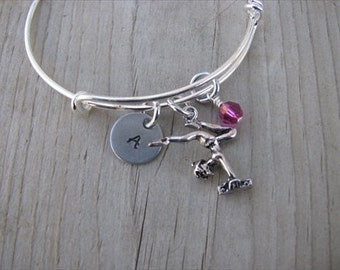 Gymnastics Bracelet- Gymnast charm, initial of your choice, and an accent bead in your choice of colors