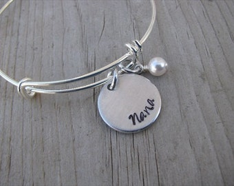 """Nana's Bracelet- Hand-Stamped """"Nana"""" Bracelet with an accent bead in your choice of colors- Hand-Stamped Jewelry- Gift for Nana"""