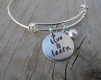 """Live and Learn Bracelet- Inspiration Bracelet- Hand-Stamped """"live & learn"""" Bracelet with an accent bead in your choice of colors"""