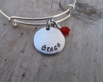 "Grace Inspiration Bracelet- Hand-Stamped ""Grace"" Bracelet with an accent bead in your choice of colors"