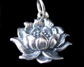 Sterling Silver Lotus Blossom Charm  - Full Open Bloom  C107