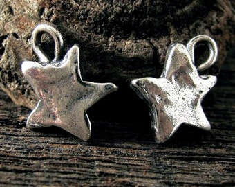 Sterling Silver Star Charms - 2 Rustic Star Charms  - 10.5mm - Oakhill Silver Supply AC24