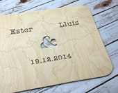 10 pc Custom Wedding Guest Book Puzzle, guestbook alternative, wedding AMPERSAND puzzle guest book, Bella Puzzles™ rustic bohemian wedding
