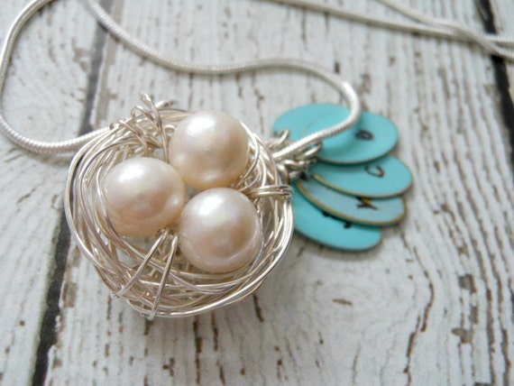 Sterling Sivler Bird's Nest - hand stamped initials and woven nest with pearls.