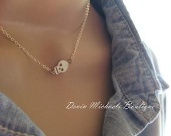 Tiny Skull Necklace, Silver Skull Layering Choker