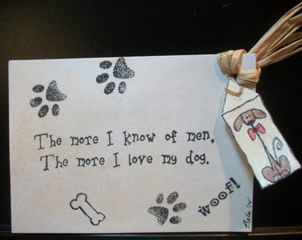 "ACEO ~ Original ""The more I know of men, The more I love my dog"" OOAK ~ Ornie"