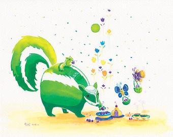 Watercolor Skunk and Butterfly Print - Mid-autumn Harvest - 8x10 - Nursery Decor Art, Cute Wall Art, Cute Skunk, Green Skunk