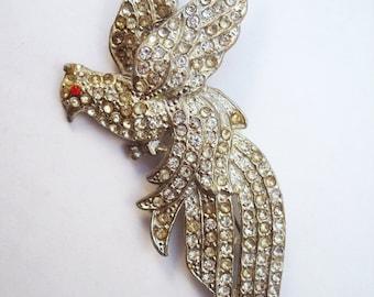 Art deco bird brooch pot metal with rhinestones