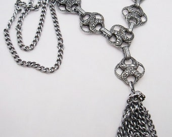 Textured aluminum  tassel necklace