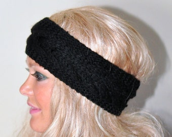 Black Earwarmer Knitted Headband Cabled Head wrap Knitted Ear warmer CHOOSE COLOR Black  Eco Neutral Nature Christmas Gift