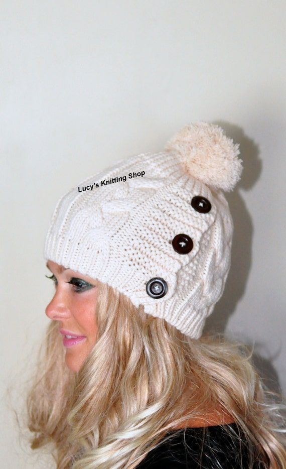 Pom Pom Hat Knit Women Hat Button Hat Cabled Adult Teen Hat CHOOSE COLOR Ivory Chunky Christmas Gift under 50