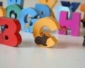 Vintage Wood Alphabet Blocks, Handmade,Nursery Decor