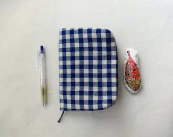 Pouch / Cover ( blue checked cotton )  x  Notebook