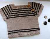 Cool Stripe: Hand-Knit Baby Vest Top, with merino & cotton, size 6 months