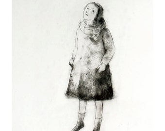Girl Looking at the Sky original engraving technique drawing figurative people